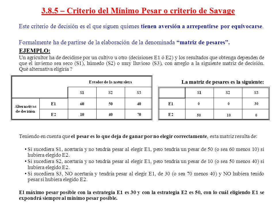 3.8.5 – Criterio del Mínimo Pesar o criterio de Savage