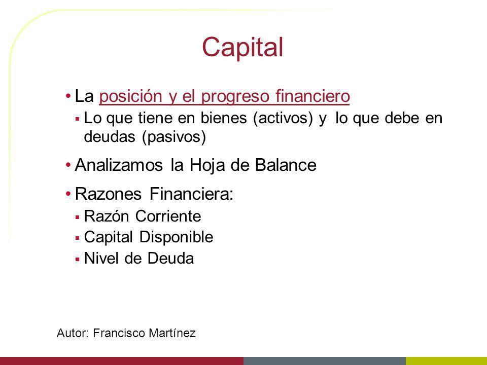 Capital La posición y el progreso financiero