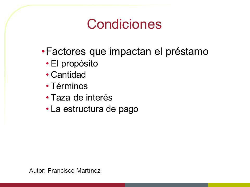 Condiciones Factores que impactan el préstamo El propósito Cantidad
