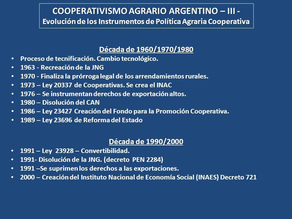 COOPERATIVISMO AGRARIO ARGENTINO – III -