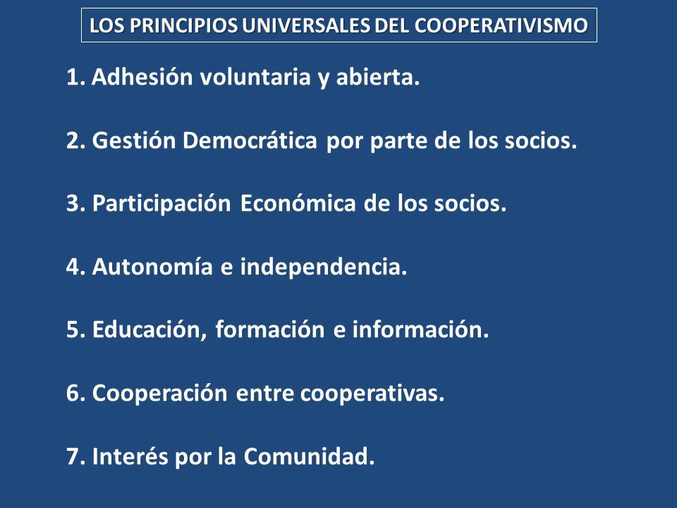 LOS PRINCIPIOS UNIVERSALES DEL COOPERATIVISMO