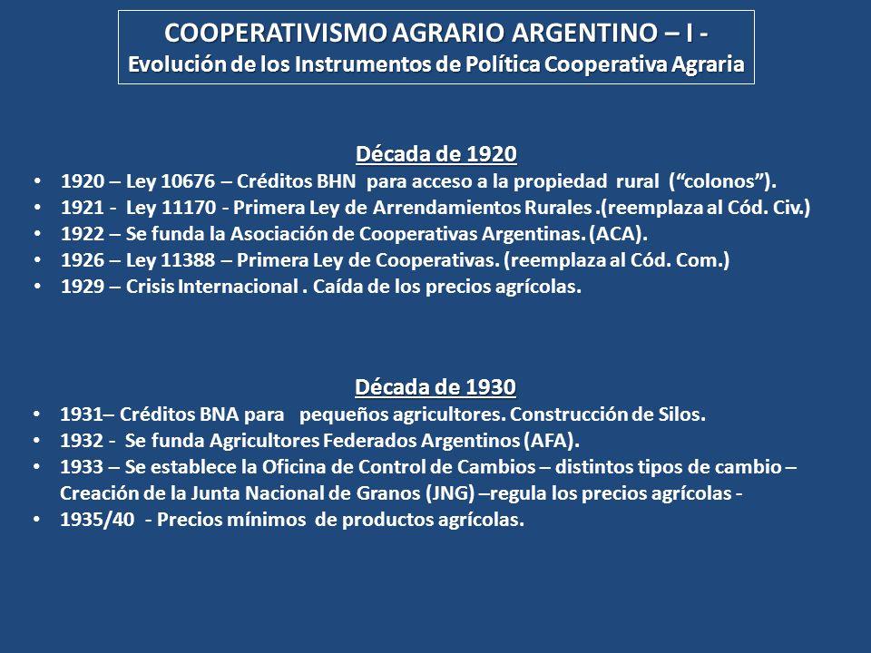 COOPERATIVISMO AGRARIO ARGENTINO – I -