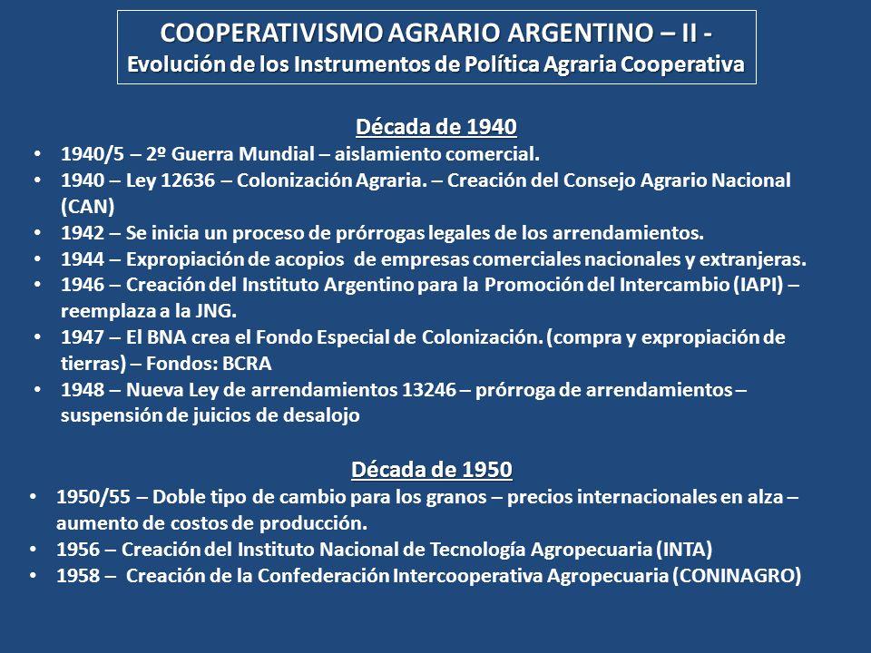 COOPERATIVISMO AGRARIO ARGENTINO – II -