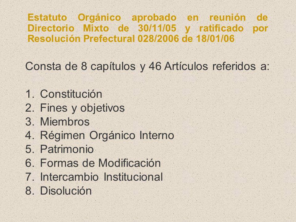 Consta de 8 capítulos y 46 Artículos referidos a: Constitución
