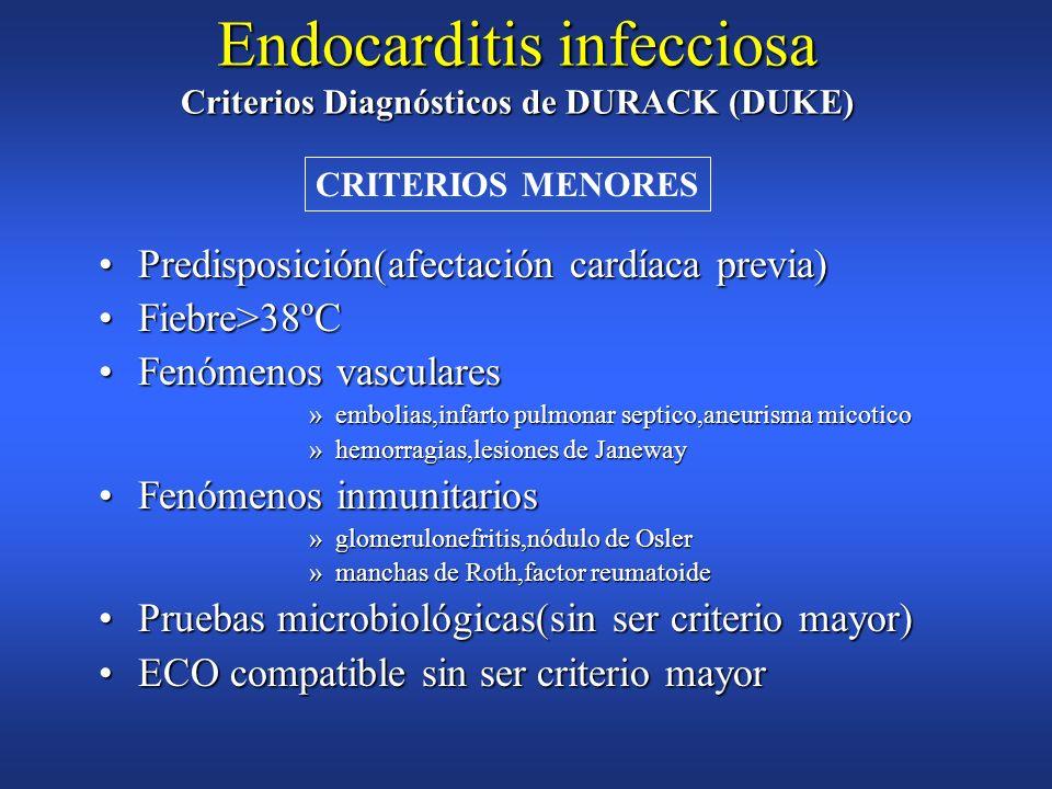 Endocarditis infecciosa Criterios Diagnósticos de DURACK (DUKE)