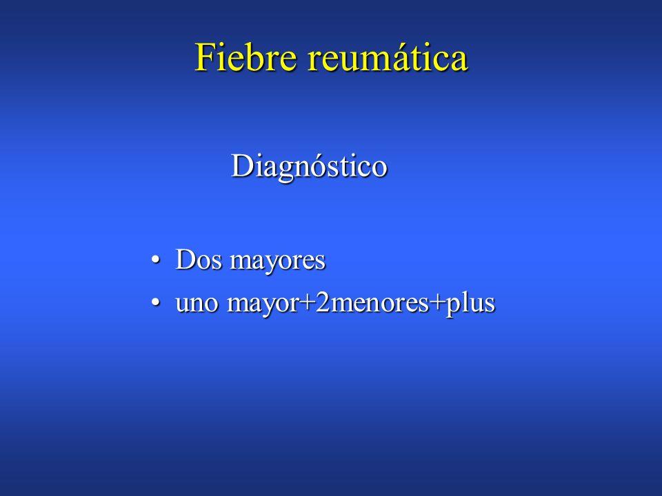 Fiebre reumática Diagnóstico Dos mayores uno mayor+2menores+plus