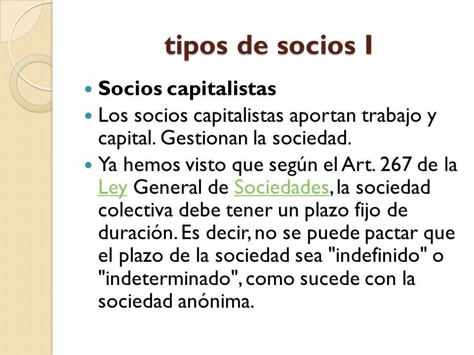 tipos de socios I Socios capitalistas