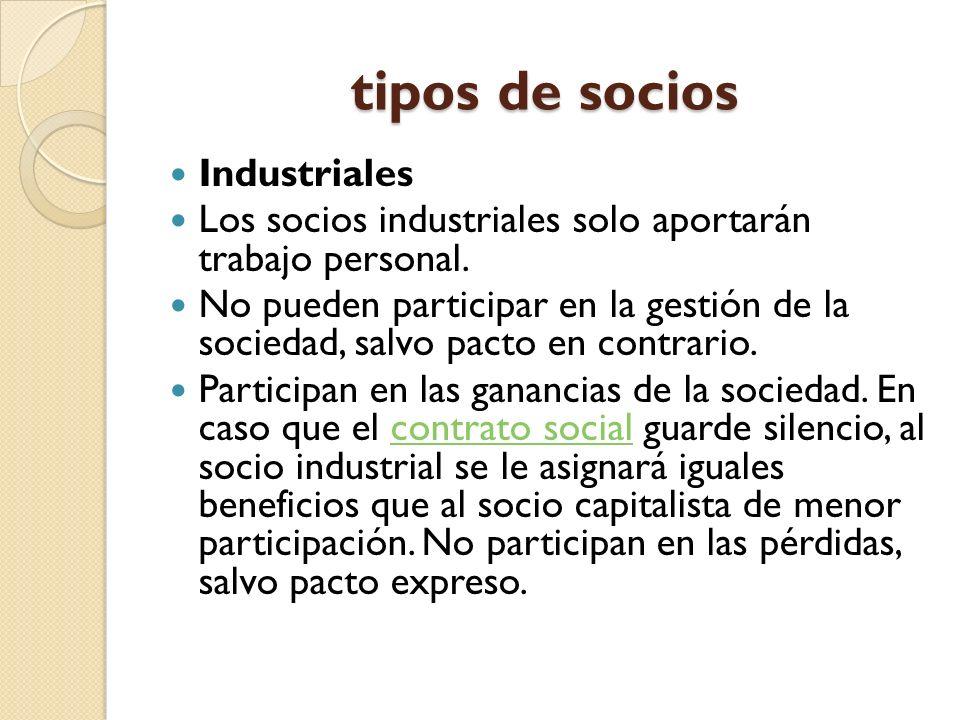 tipos de socios Industriales