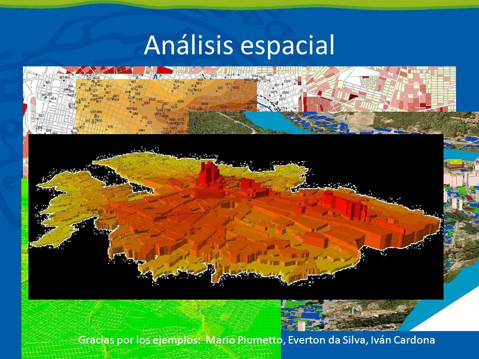 Análisis espacial Gracias por los ejemplos: Mario Piumetto, Everton da Silva, Iván Cardona