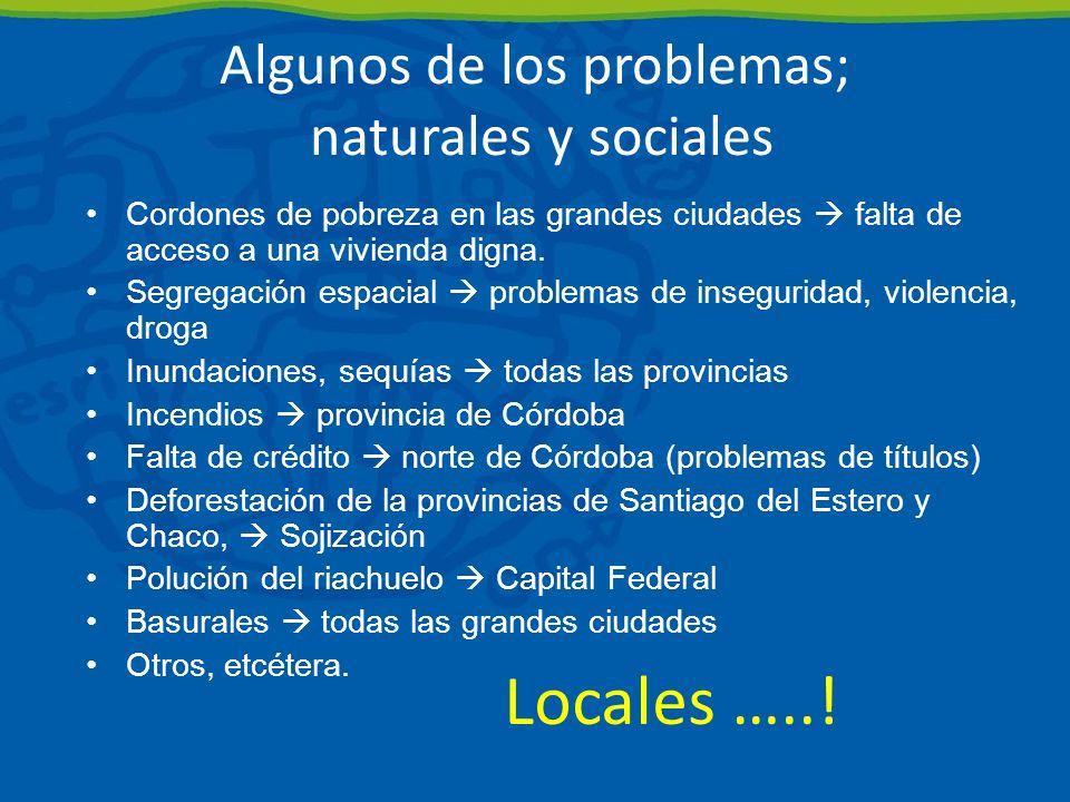 Algunos de los problemas; naturales y sociales