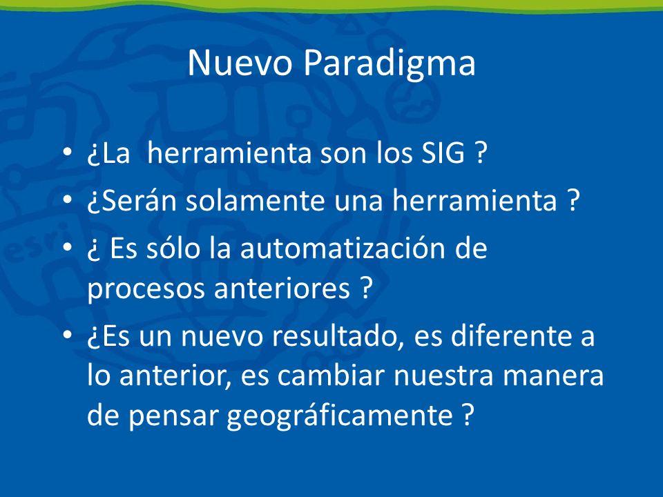 Nuevo Paradigma ¿La herramienta son los SIG