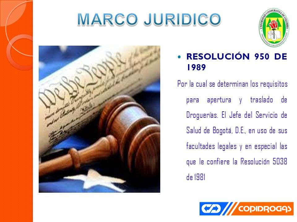 MARCO JURIDICO RESOLUCIÓN 950 DE 1989