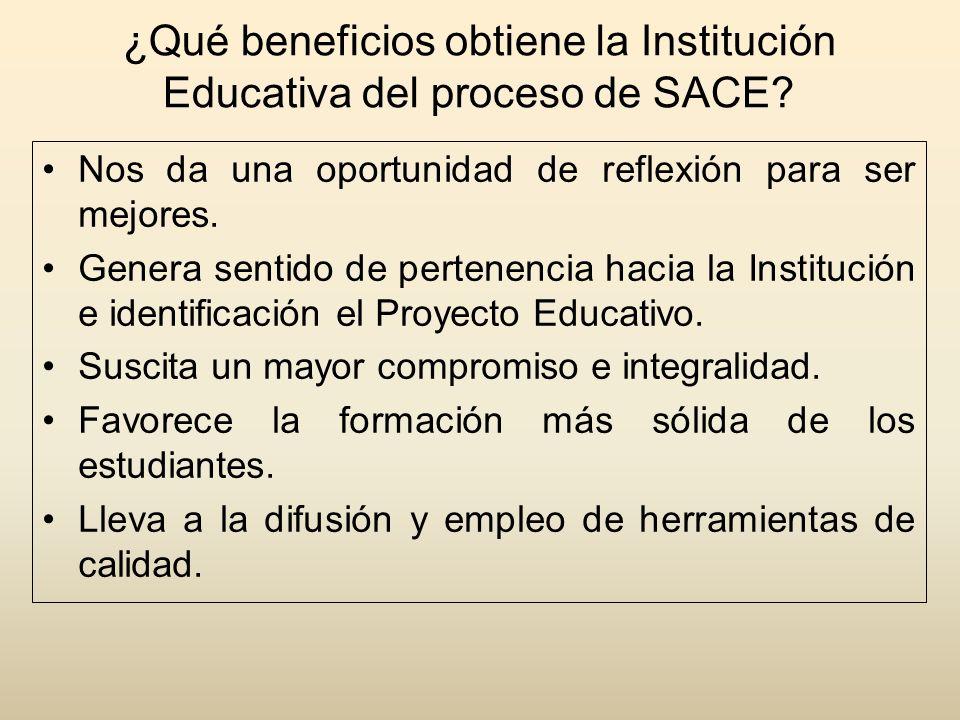 ¿Qué beneficios obtiene la Institución Educativa del proceso de SACE