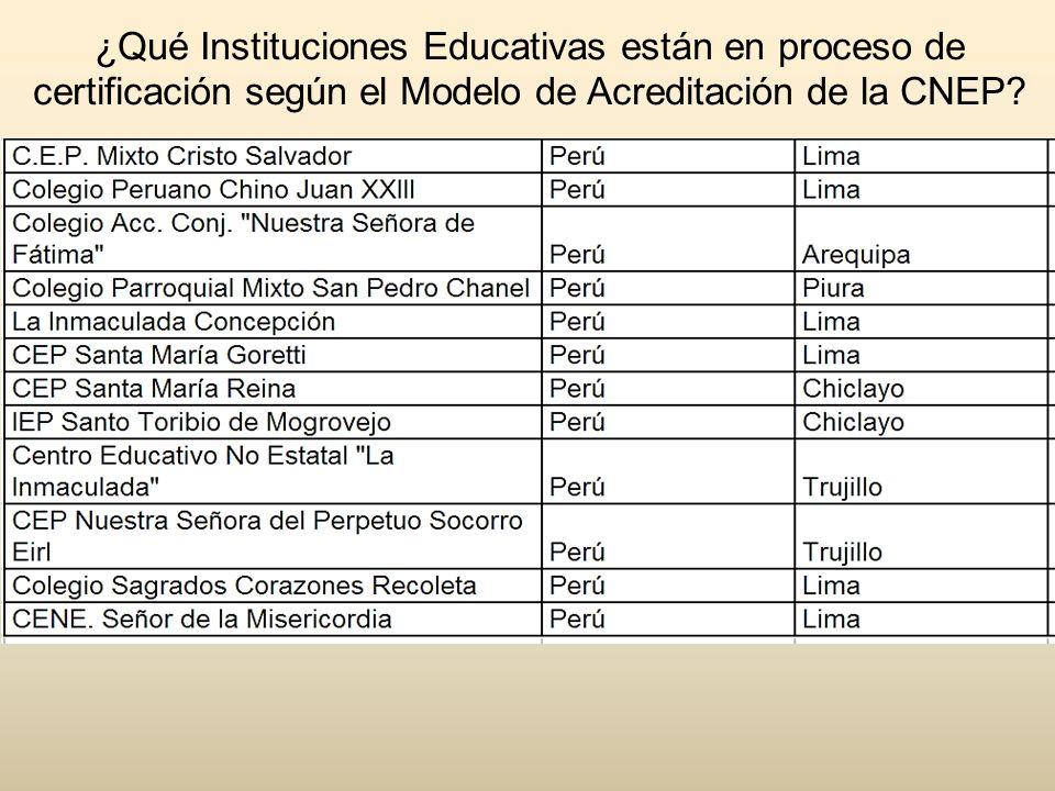 ¿Qué Instituciones Educativas están en proceso de certificación según el Modelo de Acreditación de la CNEP