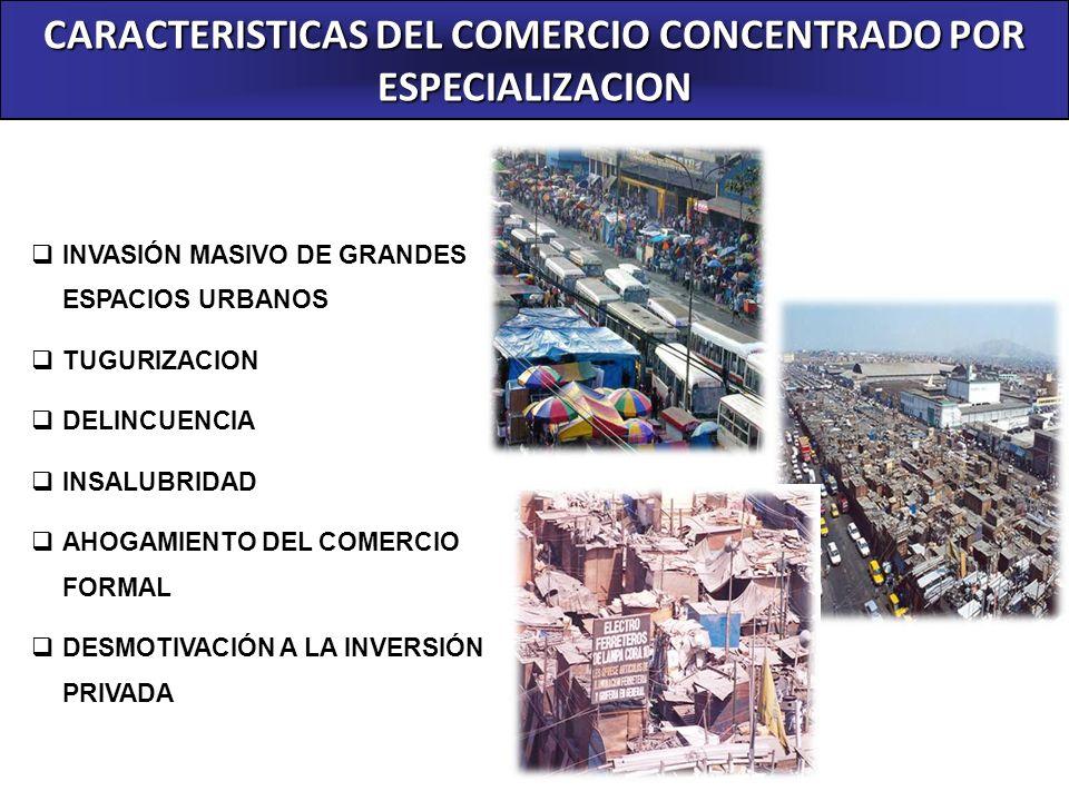 CARACTERISTICAS DEL COMERCIO CONCENTRADO POR ESPECIALIZACION