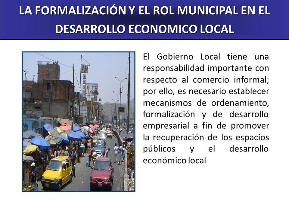 LA FORMALIZACIÓN Y EL ROL MUNICIPAL EN EL DESARROLLO ECONOMICO LOCAL