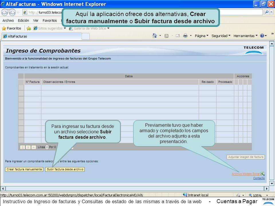 Aquí la aplicación ofrece dos alternativas, Crear factura manualmente o Subir factura desde archivo