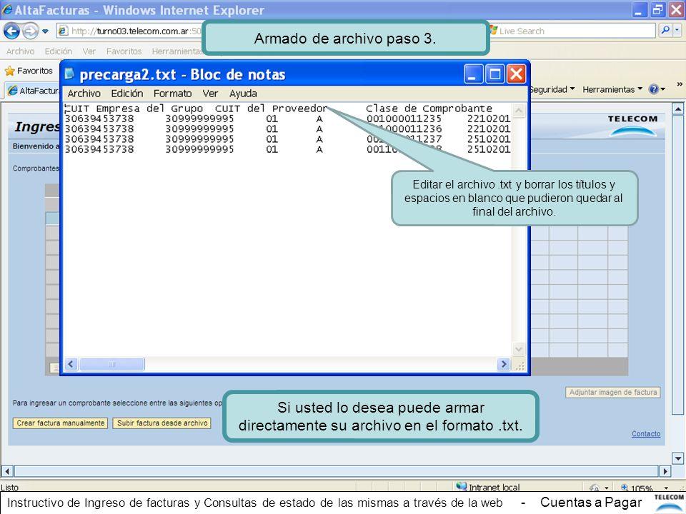 Armado de archivo paso 3. Editar el archivo .txt y borrar los títulos y espacios en blanco que pudieron quedar al final del archivo.