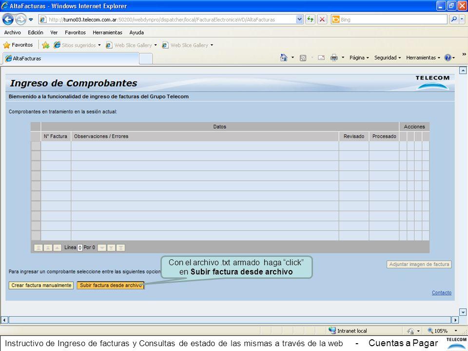 Con el archivo .txt armado haga click en Subir factura desde archivo