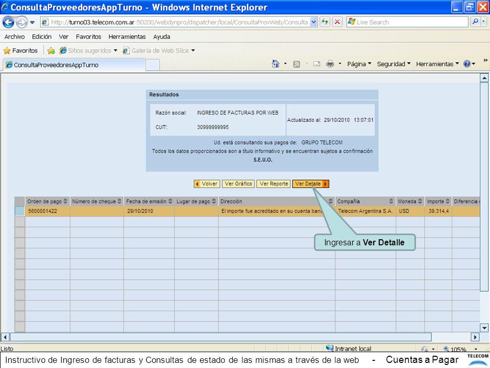 Ingresar a Ver Detalle Instructivo de Ingreso de facturas y Consultas de estado de las mismas a través de la web - Cuentas a Pagar.