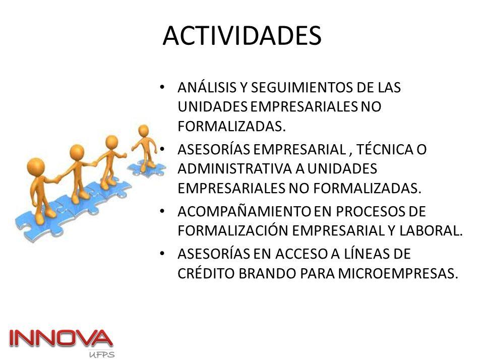 ACTIVIDADES ANÁLISIS Y SEGUIMIENTOS DE LAS UNIDADES EMPRESARIALES NO FORMALIZADAS.