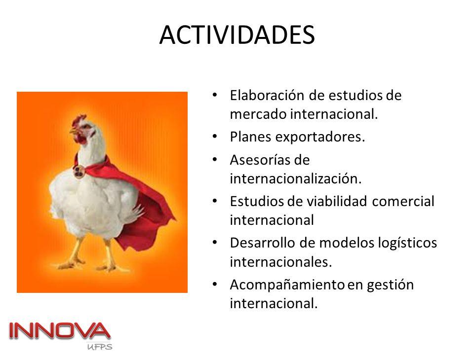 ACTIVIDADES Elaboración de estudios de mercado internacional.