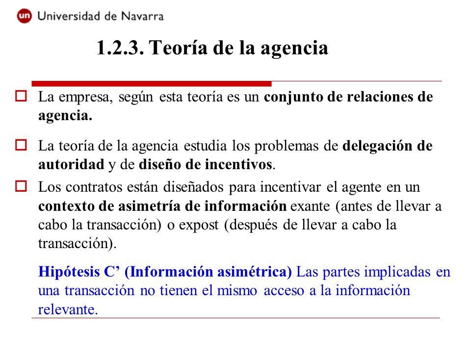 1.2.3. Teoría de la agencia La empresa, según esta teoría es un conjunto de relaciones de agencia.
