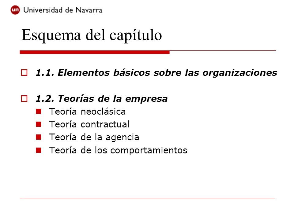 Esquema del capítulo 1.1. Elementos básicos sobre las organizaciones