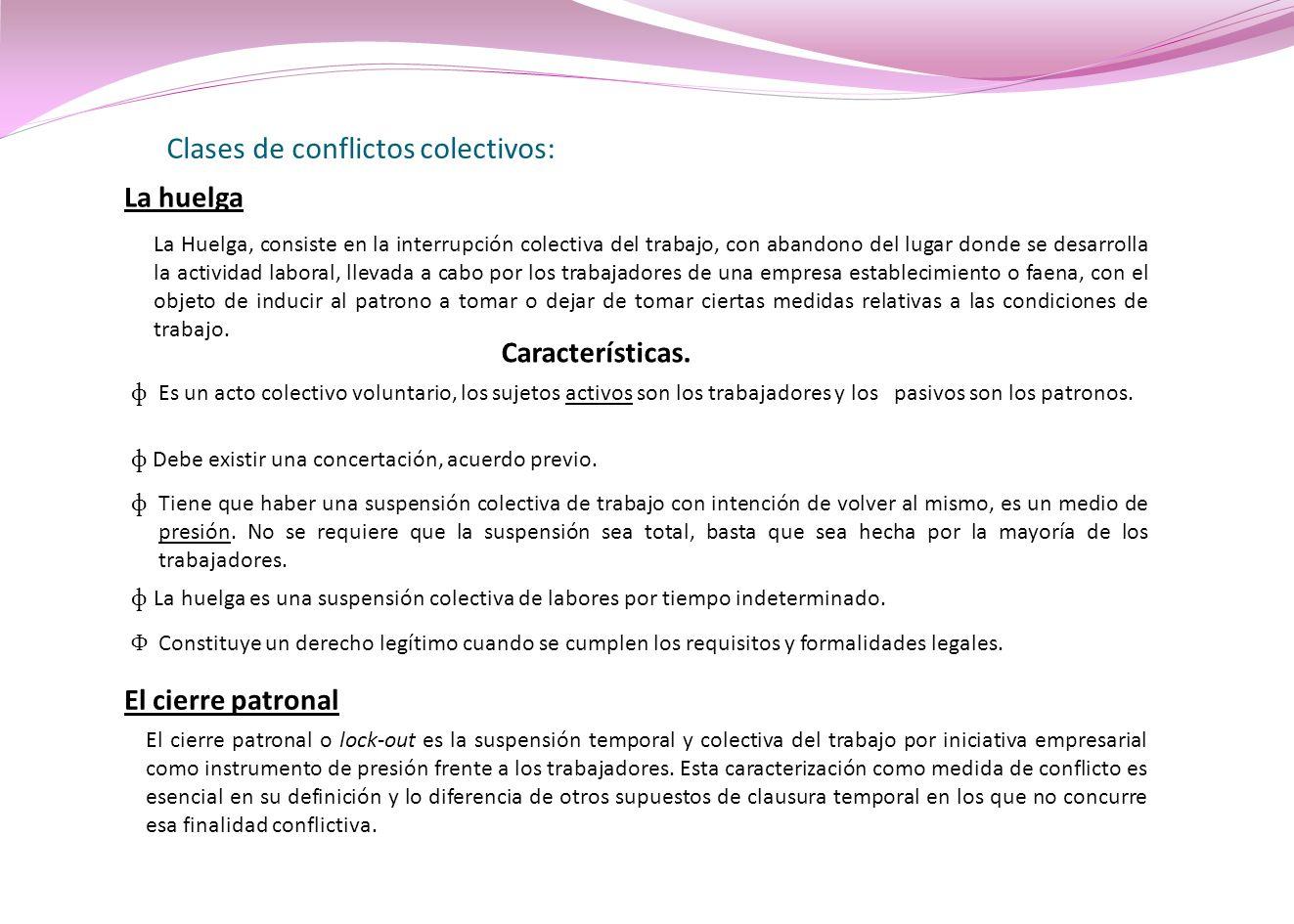 Clases de conflictos colectivos: