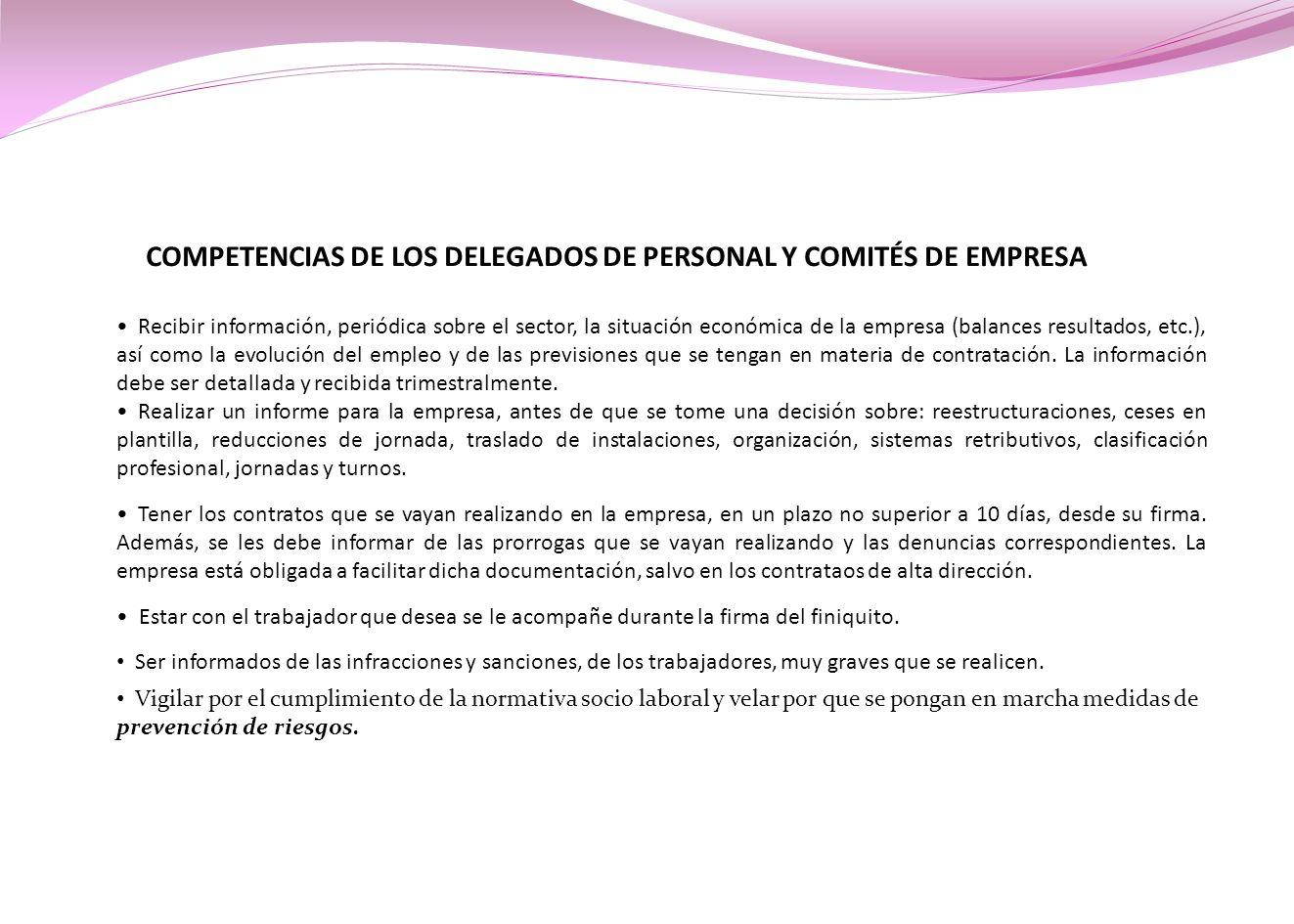 COMPETENCIAS DE LOS DELEGADOS DE PERSONAL Y COMITÉS DE EMPRESA