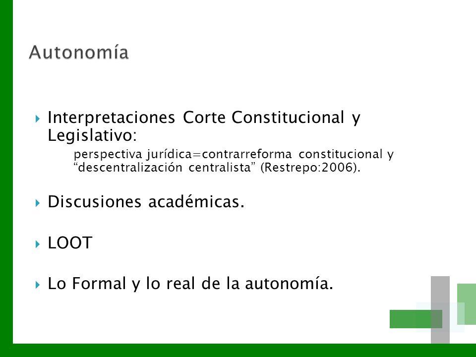 Autonomía Interpretaciones Corte Constitucional y Legislativo: