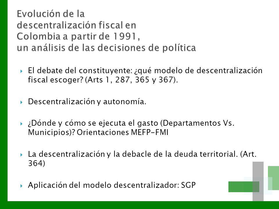 Evolución de la descentralización fiscal en Colombia a partir de 1991, un análisis de las decisiones de política