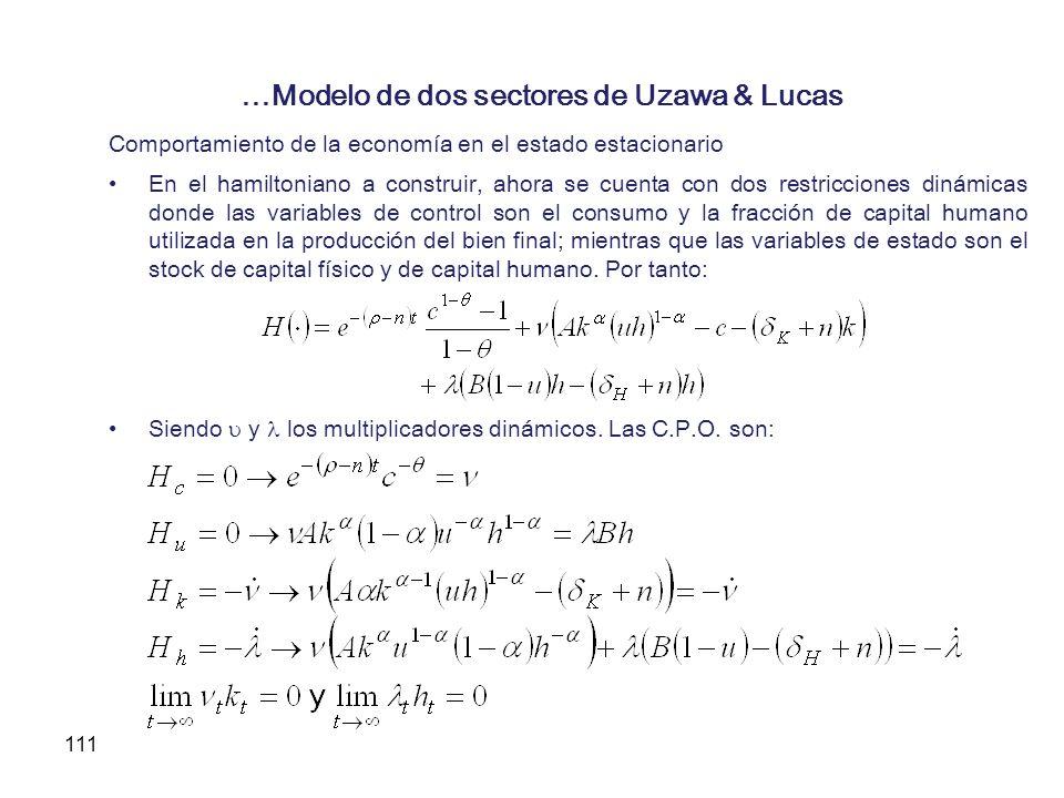 …Modelo de dos sectores de Uzawa & Lucas