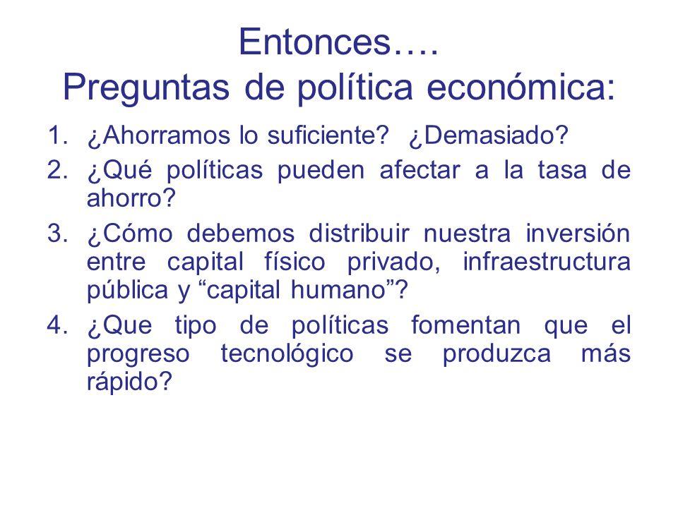 Entonces…. Preguntas de política económica: