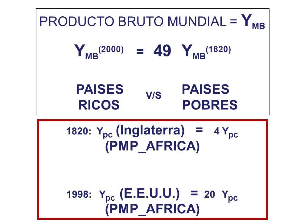 YMB(2000) = 49 YMB(1820) PRODUCTO BRUTO MUNDIAL = YMB PAISES PAISES