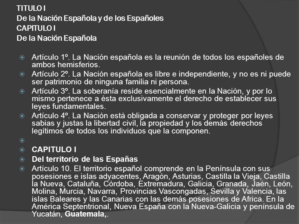 TITULO I De la Nación Española y de los Españoles CAPITULO I De la Nación Española