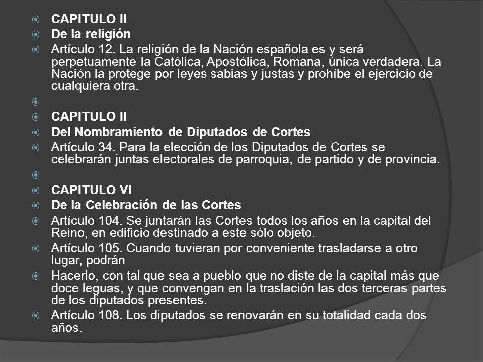 CAPITULO II De la religión.