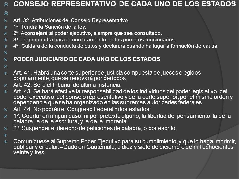 CONSEJO REPRESENTATIVO DE CADA UNO DE LOS ESTADOS