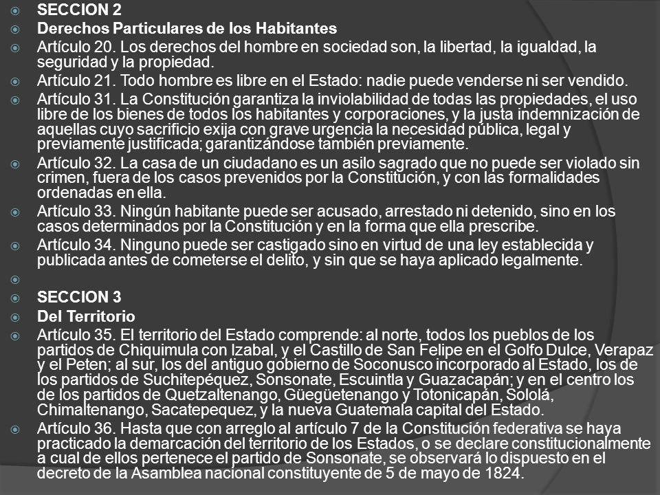 SECCION 2 Derechos Particulares de los Habitantes.