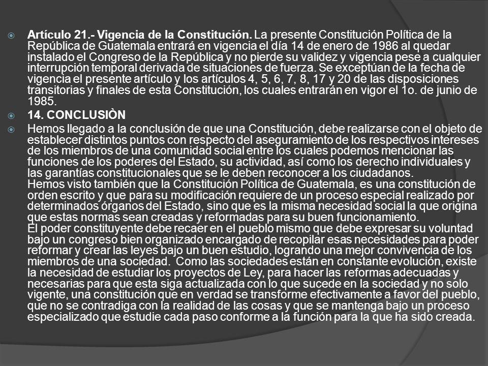 Artículo 21. - Vigencia de la Constitución