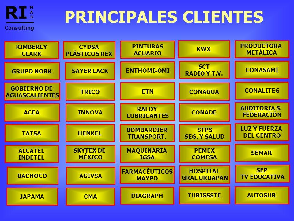 RI PRINCIPALES CLIENTES KIMBERLY CLARK CYDSA PLÁSTICOS REX PINTURAS