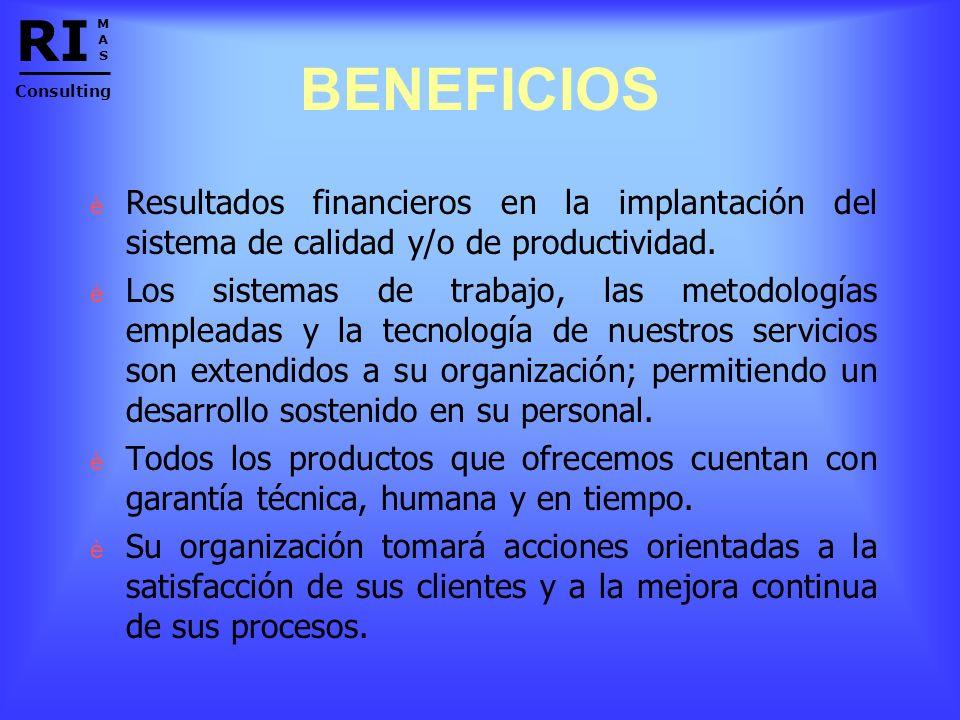 RI M. A. S. Consulting. BENEFICIOS. Resultados financieros en la implantación del sistema de calidad y/o de productividad.