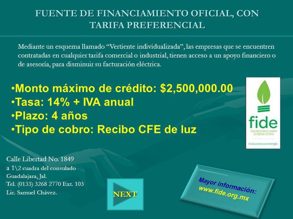FUENTE DE FINANCIAMIENTO OFICIAL, CON