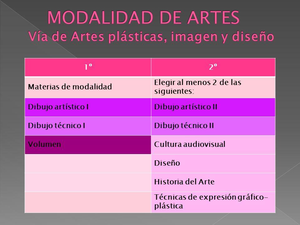 MODALIDAD DE ARTES Vía de Artes plásticas, imagen y diseño