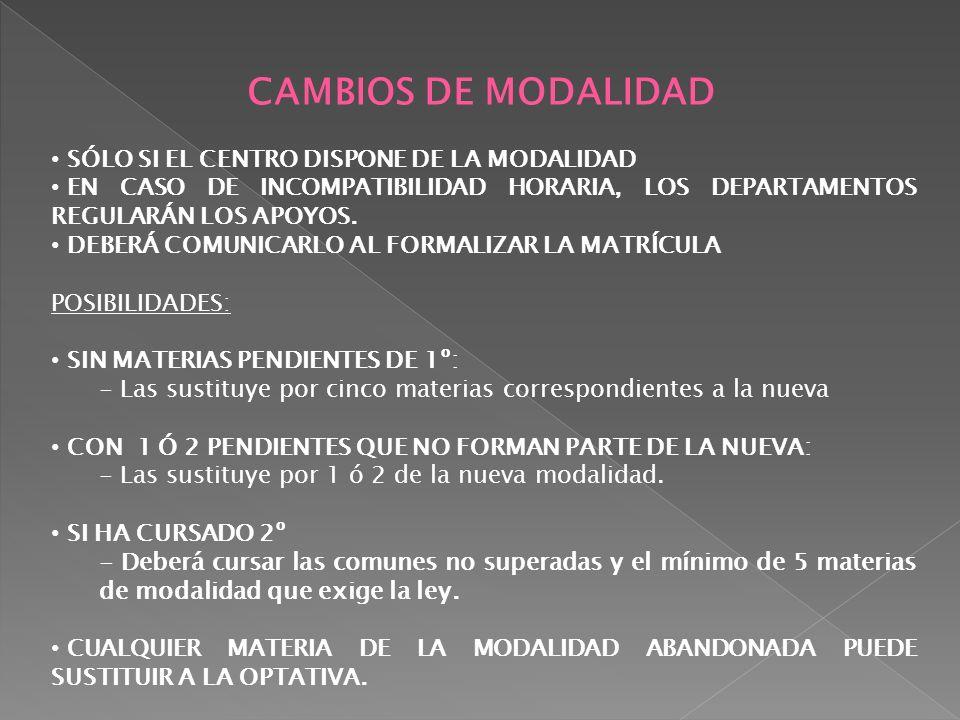 CAMBIOS DE MODALIDAD SÓLO SI EL CENTRO DISPONE DE LA MODALIDAD
