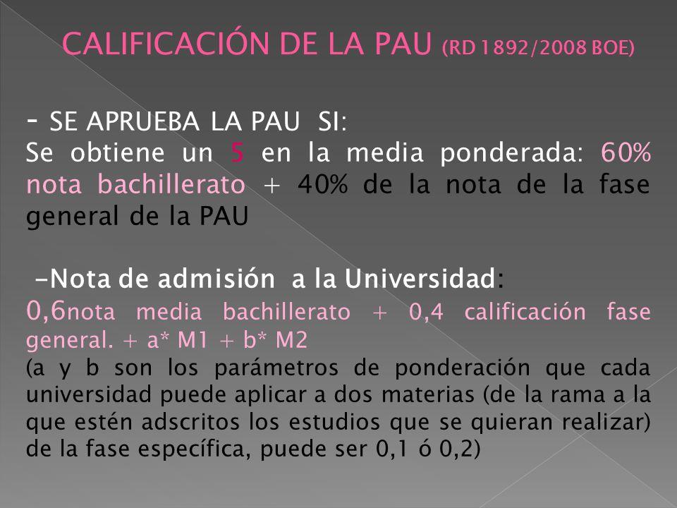 CALIFICACIÓN DE LA PAU (RD 1892/2008 BOE)