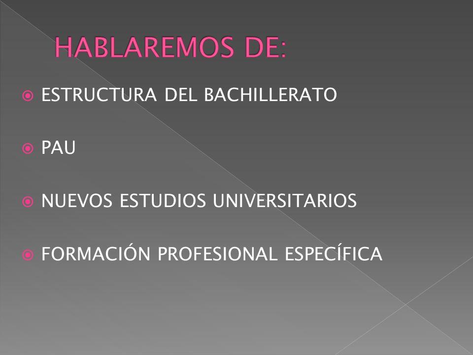 HABLAREMOS DE: ESTRUCTURA DEL BACHILLERATO PAU