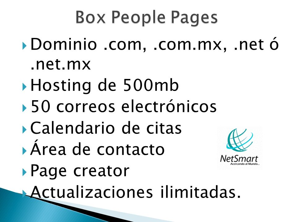 Box People Pages Dominio .com, .com.mx, .net ó .net.mx