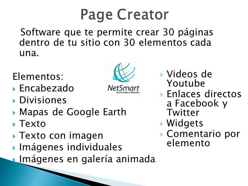 Page Creator Elementos: Encabezado Divisiones Mapas de Google Earth