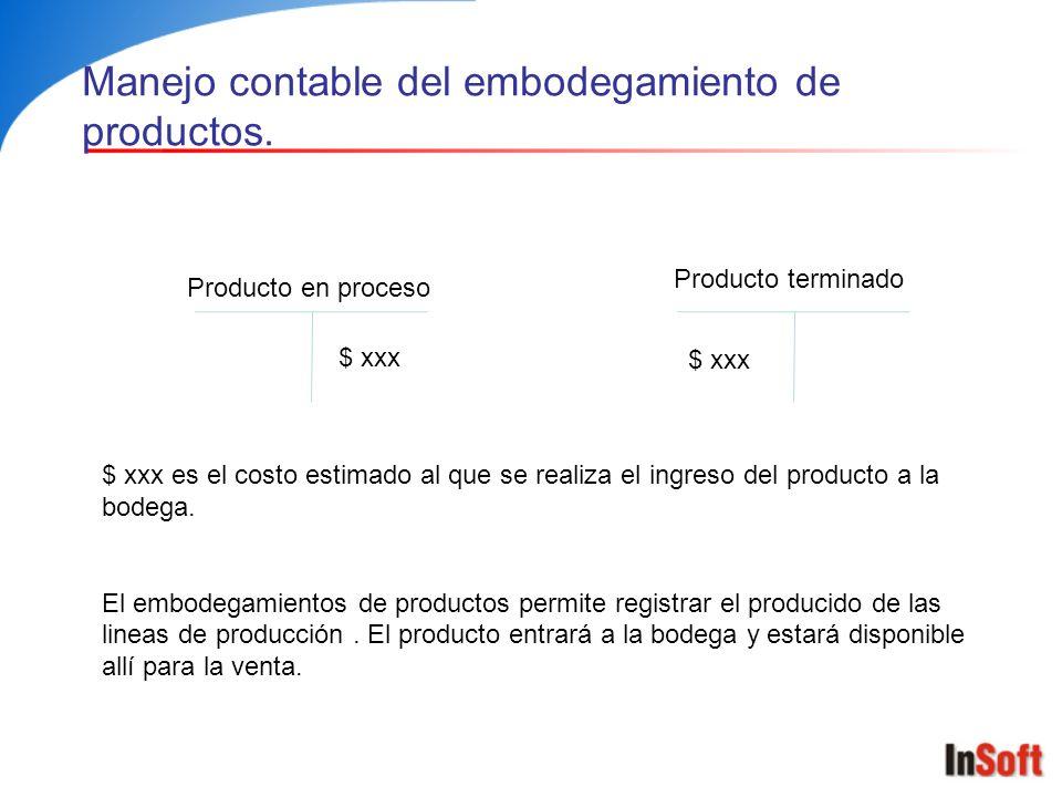 Manejo contable del embodegamiento de productos.